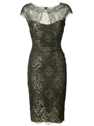 Monique Lhuillier Metallic Lace Dress Women Silk 4 Black