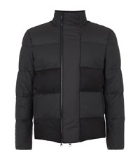 Z Zegna Leather Panel Puffer Coat Male