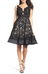 Mac Duggal Women's Lace Fit And Flare Dress Black Nude