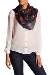Zadig And Voltaire Kerry Cherry Flamme Print Scarf Black