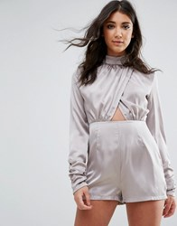 1a00e2f42c Missguided Grey High Neck Wrap Satin Playsuit Grey