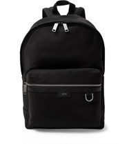 Hugo Boss Meridian Textured Leather Trimmed Nylon Backpack Black