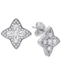 Crislu Platinum Over Sterling Silver Halo Star Stud Earrings