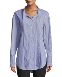 Theory Weekender Tie Neck Button Down Long Sleeve Franklin Stripe Shirt Blue White