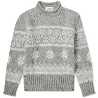 Thom Browne Winter Fairisle Roll Neck Knit Grey