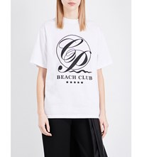 Caitlin Price Beach Club Cotton Jersey T Shirt White Black