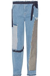 Tome Patchwork Distressed High Rise Wide Leg Jeans Blue