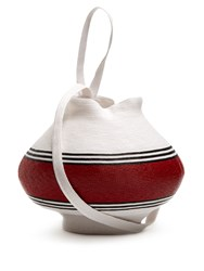 Rosie Assoulin Striped Woven Straw Jug Bag Red Stripe