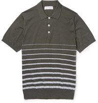 Brunello Cucinelli Striped Knitted Cotton Polo Shirt Green