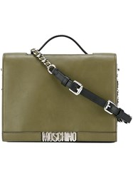 Moschino Logo Plaque Tote Green