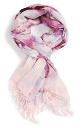 Nordstrom Women's Flora Obscura Scarf Pink Combo