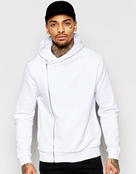 Asos Cropped Asymmetric Zip Up Hoodie In White