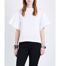 Toga Fringe Detail Cotton Jersey T Shirt White