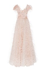 Marchesa Feather Embroidered V Neck Gown Pink