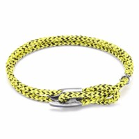 Anchor And Crew Yellow Noir Padstow Silver Rope Bracelet Yellow Orange