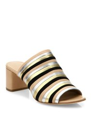 Loeffler Randall Kenna Striped Leather Block Heel Mules Wheat Multi