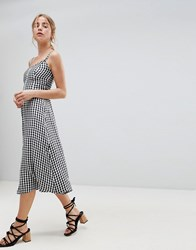 Hollister 90'S Button Thru Gingham Midi Dress Multi