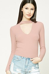 Forever 21 Mock Neck Geo Cutout Top