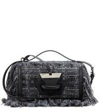Loewe Barcelona Leather Trimmed Tweed Shoulder Bag Grey