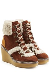 See By Chloe Suede Wedge Boots With Shearling Brown