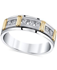 Macy's Men's Diamond Band 1 2 Ct. T.W. In 14K White Gold With Gold Accents