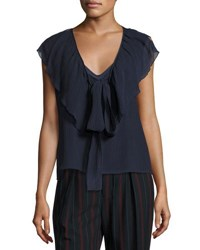 See By Chloe V Neck Tie Front Ruffled Chiffon Top Blue