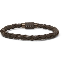 Polo Ralph Lauren Woven Leather Bracelet Brown