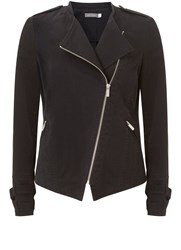 Mint Velvet Black Casual Cotton Zip Biker Jacket Black