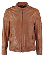 Tom Tailor Leather Jacket Cognac