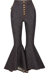 Ellery Hysteria Cropped High Rise Flared Jeans Dark Denim