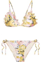 Zimmermann Valour Embroidered Floral Print Triangle Bikini Yellow