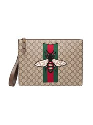 Gucci Gg Supreme Men's Bag With Bee Men Leather Canvas Microfibre One Size Nude Neutrals