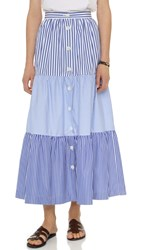 Mds Stripes Mixed Stripe Peasant Skirt Multi