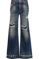 R 13 R13 The Jane Distressed Mid Rise Bootcut Jeans Mid Denim