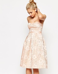 Lashes Of London Bandeau Full Midi Dress With Cut Out Back In Textured Floral Nude