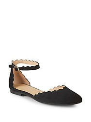 Saks Fifth Avenue Scalloped Suede Flats Black