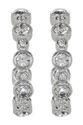 Nadri Small Crystal Bezel Hoop Earrings Blue