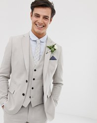 French Connection Wedding Slim Fit Plain Linen Suit Jacket Grey