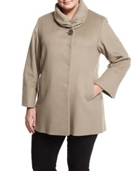 Cinzia Rocca Due Stand Collar Wool Blend Coat Taupe