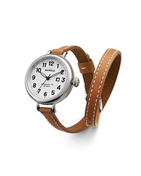 Shinola The Birdy Double Wrap Strap Watch 34Mm Natural White