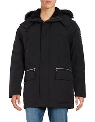 Karl Lagerfeld Sherpa Lined And Faux Fur Trimmed Hooded Parka Black