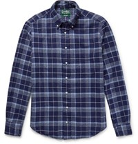 Gitman Brothers Vintage Slim Fit Checked Cotton Flannel Shirt Navy