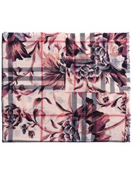 Burberry Floral Checked Scarf Nude Neutrals