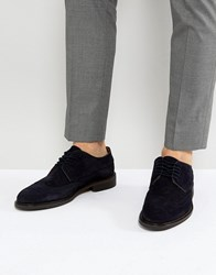 Selected Homme Suede Brogue Shoes Dark Navy