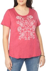 Evans Plus Size Women's Embroidered Tee Pink