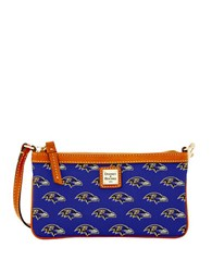 Dooney And Bourke Baltimore Ravens Large Wristlet Purple Ravens