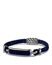 David Yurman Exotic Stone Station Blue Leather Bracelet With Lapis Lazuli Blue Silver