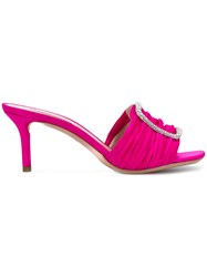 Casadei Embellished Buckle Mules Pink And Purple