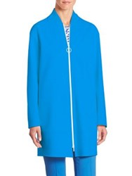 Akris Punto Wool Zip Front Coat Azure