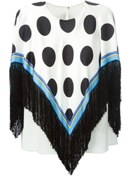 Dolce And Gabbana Polka Dot Print Poncho White